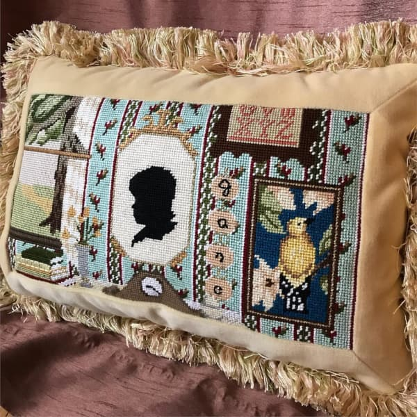 Jane Austin Cameo needlepoint cushion with fringe edge