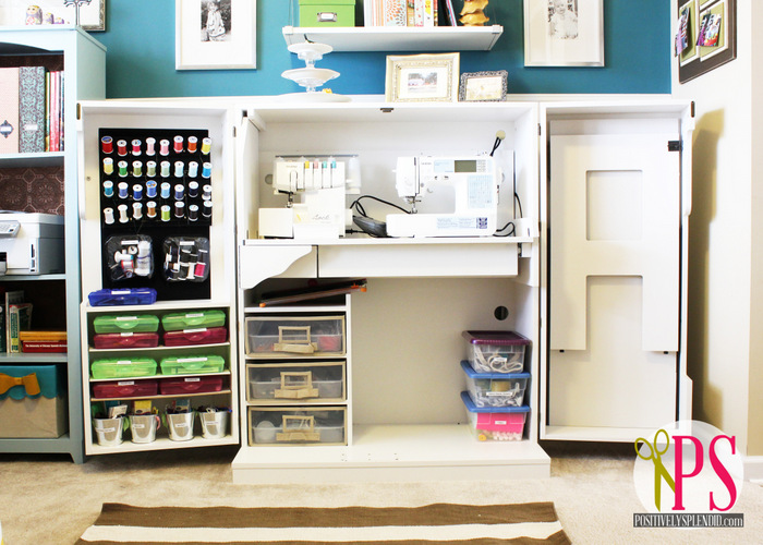 Sewing Studio Storage Tips on Pinterest | Sewing Cabinet ...