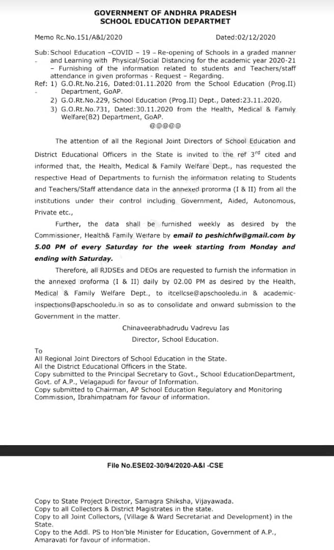 Furnishing Of information related to Students and Teachers attendance - Request - Regarding