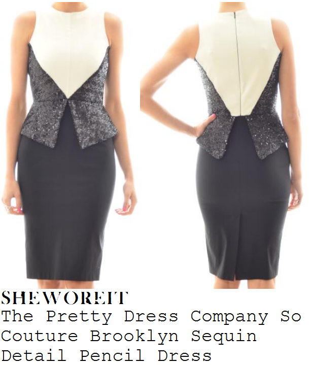 7e464f4965d Lucy Mecklenburgh s The Pretty Dress Company So Couture Brooklyn Black    White Sleeveless Sequin Detail Peplum Pencil Dress