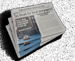 Newspaper with headline tax break for newspapers