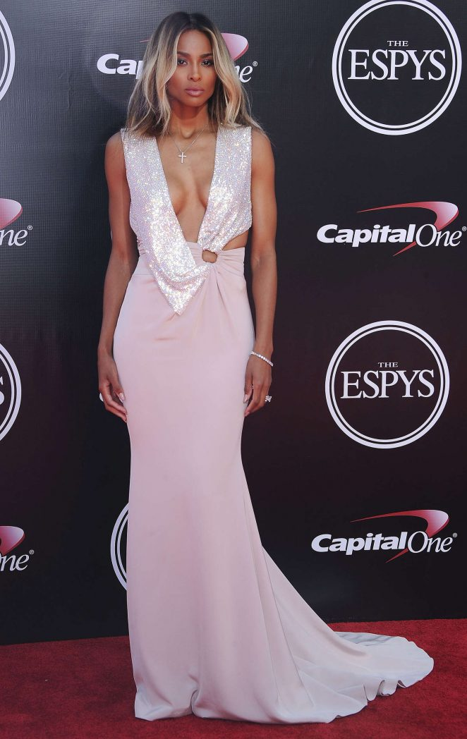 Ciara wears a plunging dress to the 2016 ESPY Awards in LA