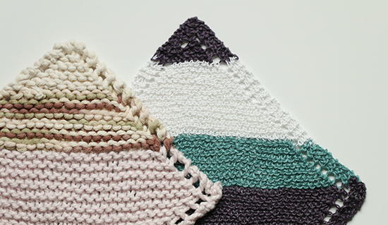 Knit Washcloths or Dishcloths in Linen and Chunky Cotton