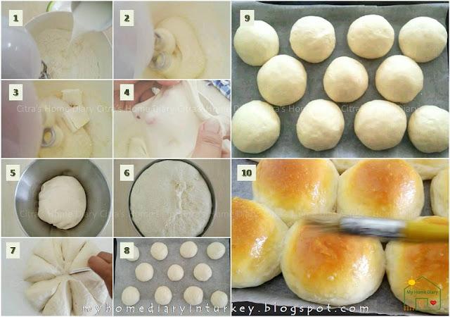 Simple and Easy Soft Basic Bread / Dinner Rolls Recipe (Eggless) With video / Resep dasar roti manis (tanpa telur) | Çitra's Home Diary. #basicbreadrecipe #asiansoftbread #softbread #dinnerrolls #bunsrecipe #rotimanis #resepdasar #sweetbuns #yumusakekmek #poğaçatarifi #burgerbun