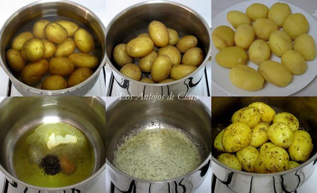Preparación papas salteadas con tomillo y ajo
