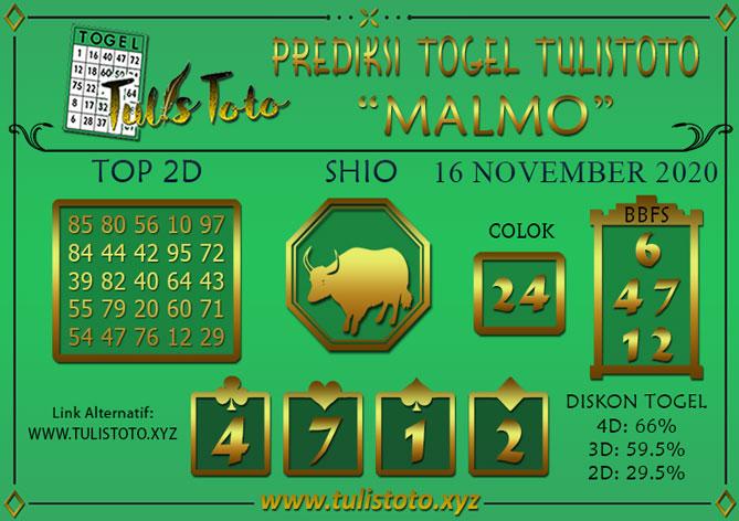 Prediksi Togel MALMO TULISTOTO 16 NOVEMBER 2020