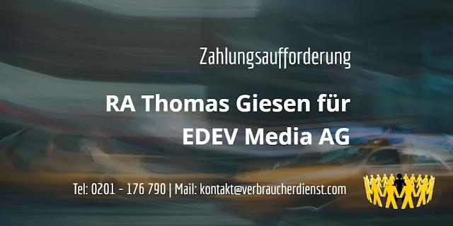 Titelbild: EDEV Media AG  Forderung von Rechtsanwalt Thomas Giesen