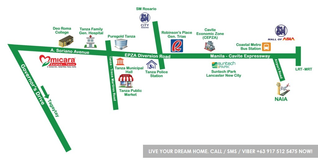 Vicinity Map Location Portia - Micara Estates | House for Sale Tanza Cavite