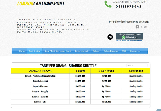 Tarif Sewa Mobil di Lombok Car Transport