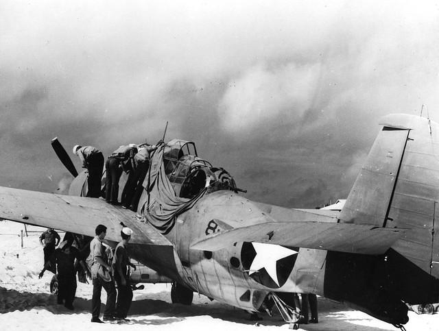 Badly damaged aircraft at Midway Island. 4 June 1942 worldwartwo.filminspector.com