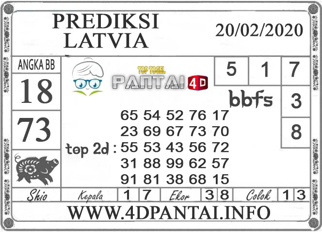 PREDIKSI TOGEL LATVIA PANTAI4D 20 FEBRUARI 2020