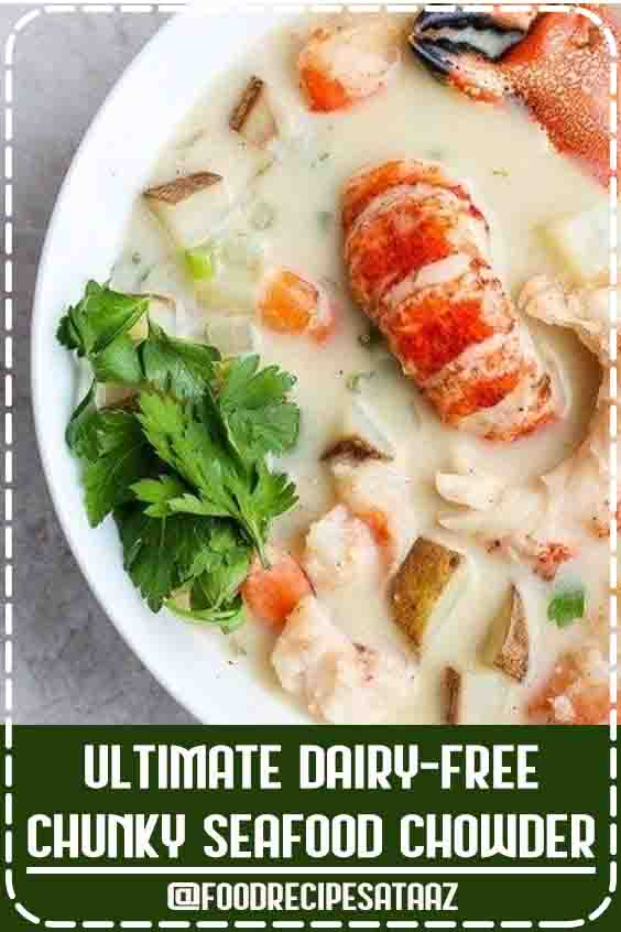 4.8 ★★★★★ | A savory and delicious seafood chowder that is Whole30-friendly, dairy-free and SO delicious!  Perfect for a special occasion, holiday, date night or Valentine's Day! #Chunky #Lobster #Bisque