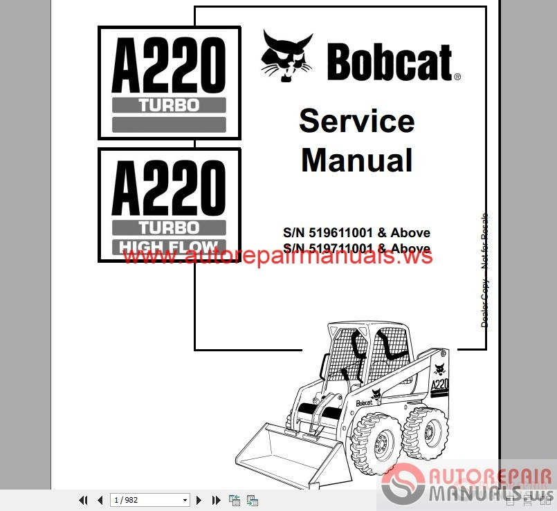 Free Auto Repair Manual : Bobcat Full Set Service Manual