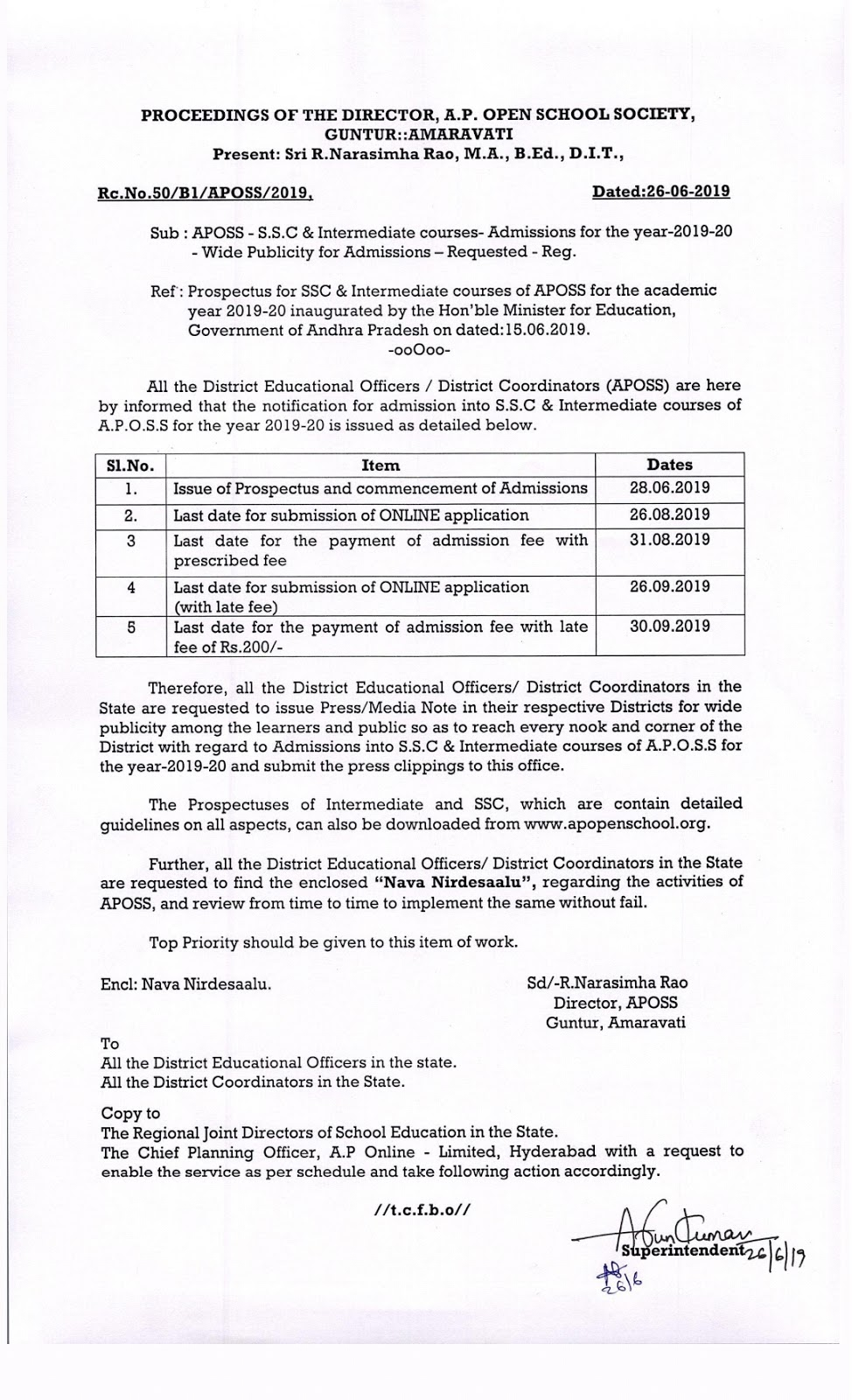 APOSS SSC Admission 2019-20 Open 10th Online Application @ www