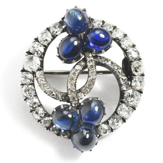 cross mint franklin enamel midnight pendant brooch with sapphire diamonds pearls faberge