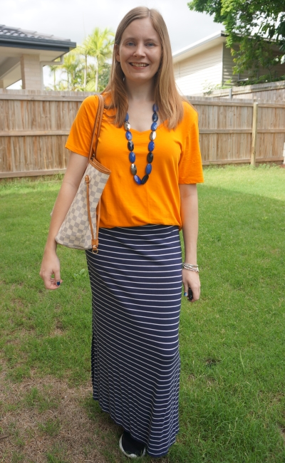 orange tee with navy stripe maxi skirt statement necklace LV neverfull tote damier azur | away from the blue