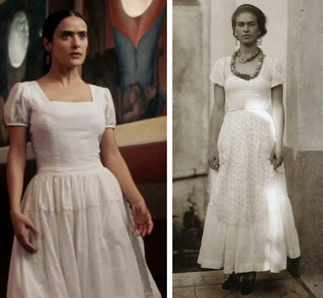 Frida no filme e foto real vestido branco