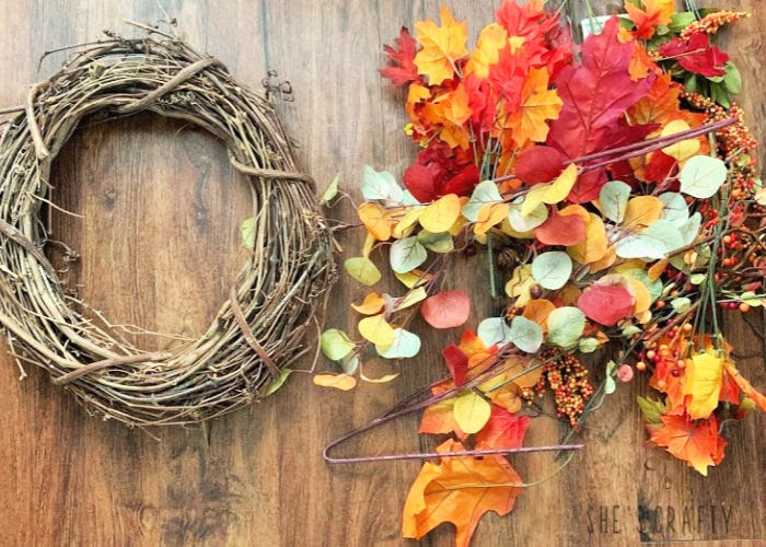 Supplies needed to make a Fall Grapevine Wreath