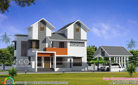Day and night view of 2722 sq-ft Kerala home