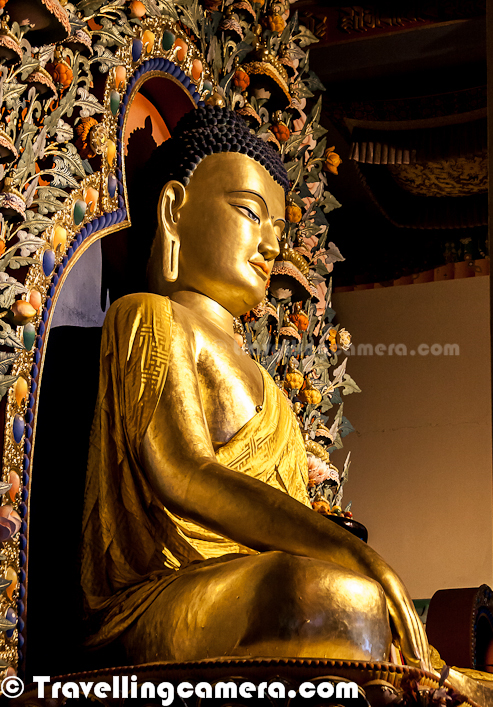 Here is a closer look at Golden Statute of Budha inside Monastery of Dzongsar Khyentse Rinpoche Institute @ Chauntra Town of Mandi District in Himachal Pradesh, India