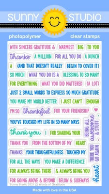 Sunny Studio Stamps: Words of Gratitude Sentiment Thank you Greetings 4x6 Clear Photopolymer Stamps
