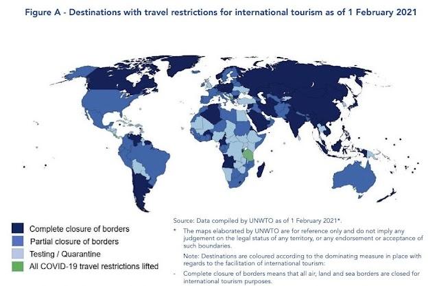 Uno de cada tres destinos del mundo se encuentra actualmente completamente cerrado al turismo internacional, según la Organización Mundial del Turismo (OMT)