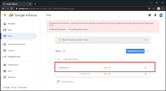 Menambahkan Sub Domain di Google Adsense