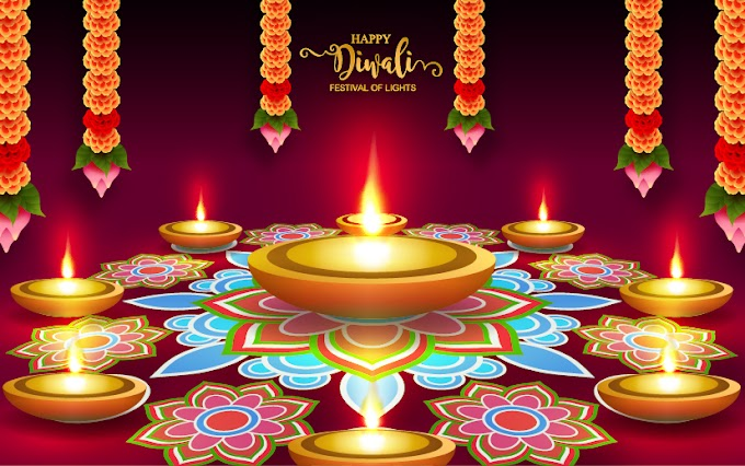 Diwali decor with purple background free vectors