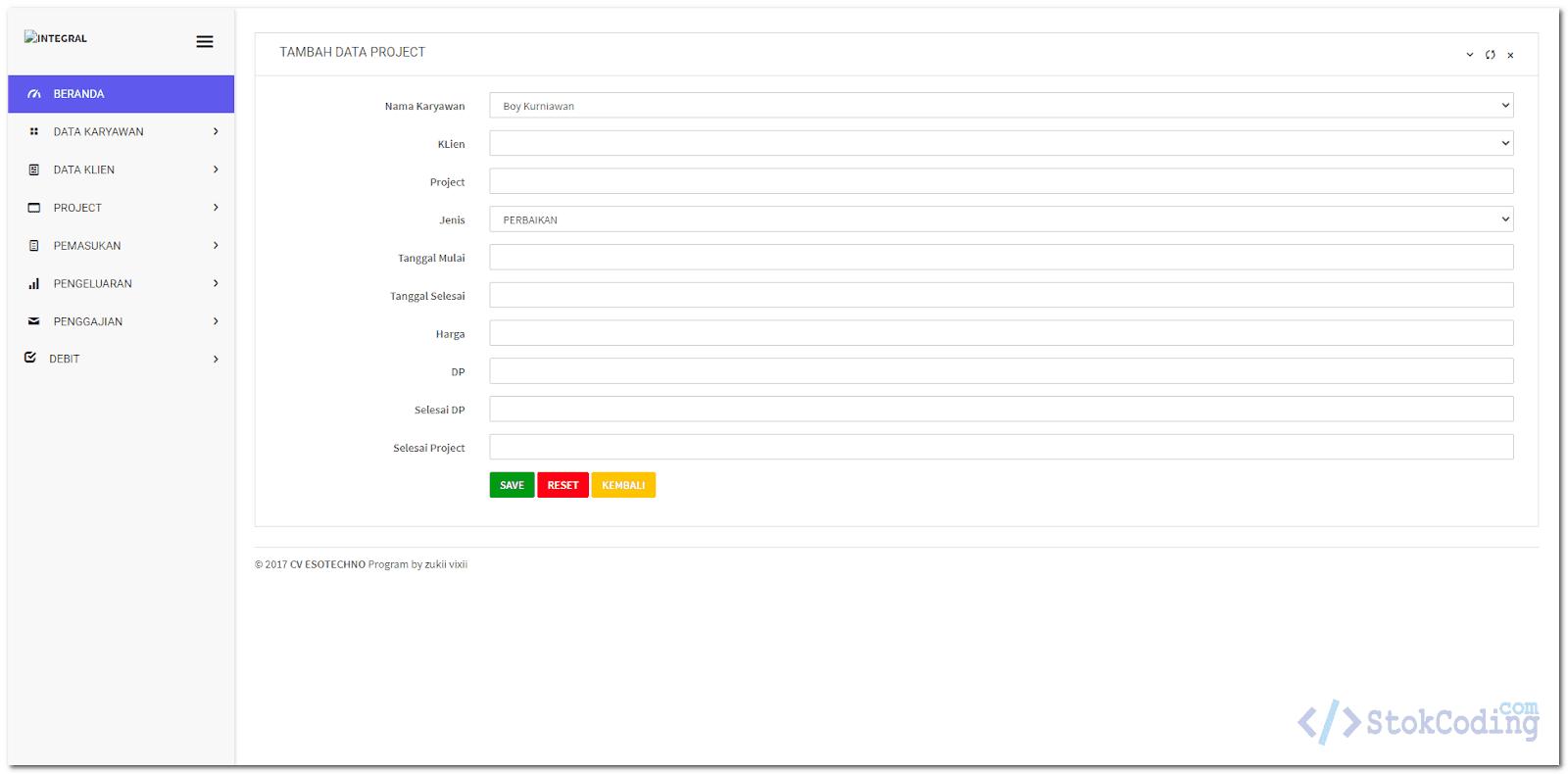 Aplikasi Keuangan Project Berbasis Web (Codeigniter)
