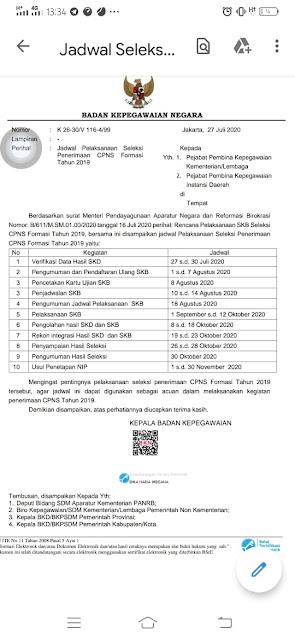 Edaran seleksi SKB CPNS terbaru 2020