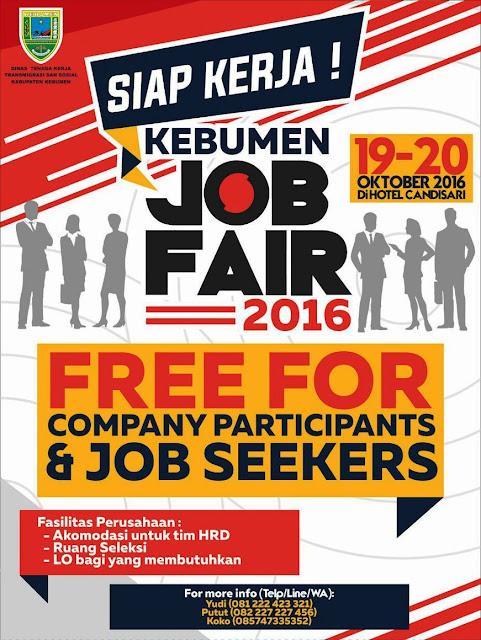 Job Fair Kebumen 2016, 19-20 Oktober di Hotel Candisari