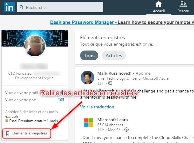 LinkedIn - Comment relire un article que vous avez enregistré