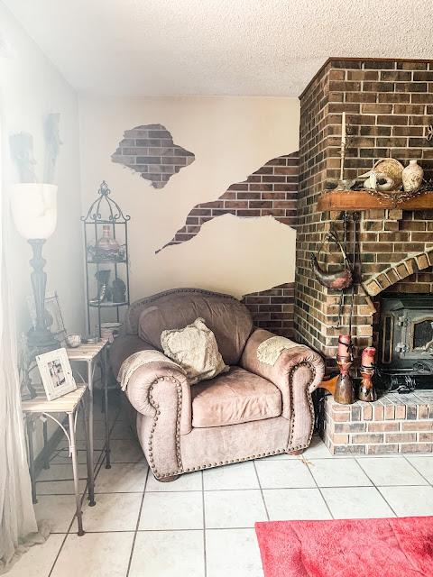 hand painted bricks on wall