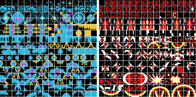 The two tilesets used in the arcade version of Phoenix (1980).
