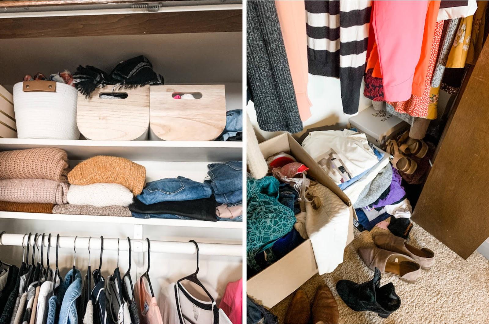 My bedroom closet before I organized it