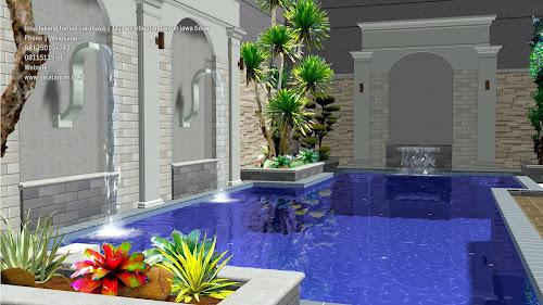 taman dan kolam renang belakang rumah jasataman.co.id surabaya
