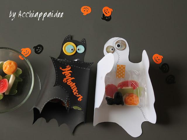 portacaramelle pipistrello e fantasma di cartoncino