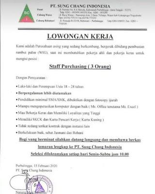 Lowongan Kerja PT. Sung Chang Indonesia Februari 2020