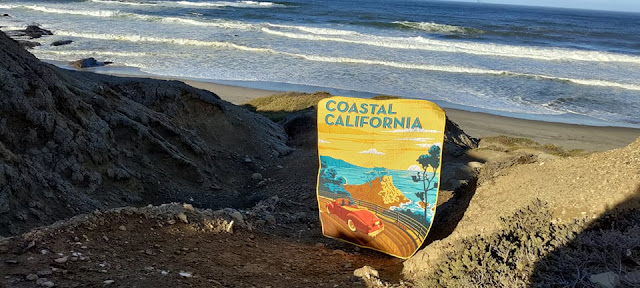Coastal California panel quilt with free-motion quilting