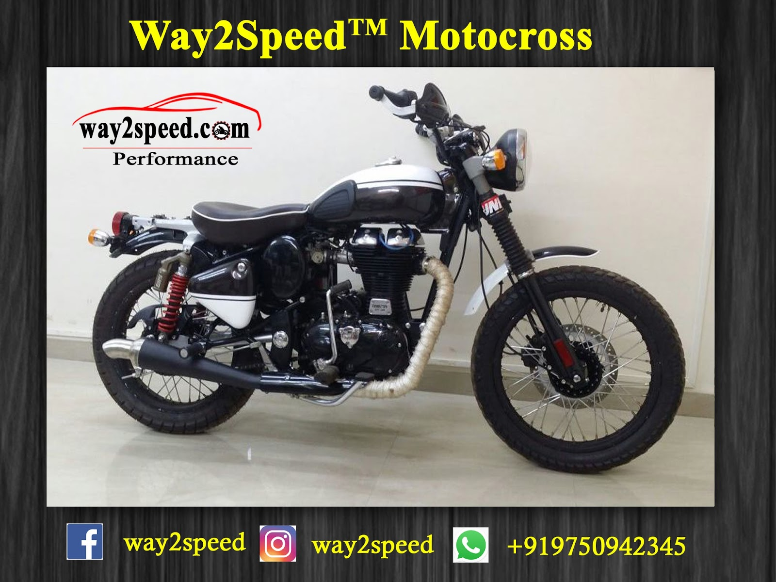 Royal Enfield Silencer | Way2speed Motocross is a direct fit for Royal Enfield Bullet 350, Royal Enfield Classic 350, Royal Enfield Thunderbird 350, Royal Enfield Bullet 500, Royal Enfield Classic 500, Royal Enfield Thunderbird 500, Royal Enfield Continental GT.
