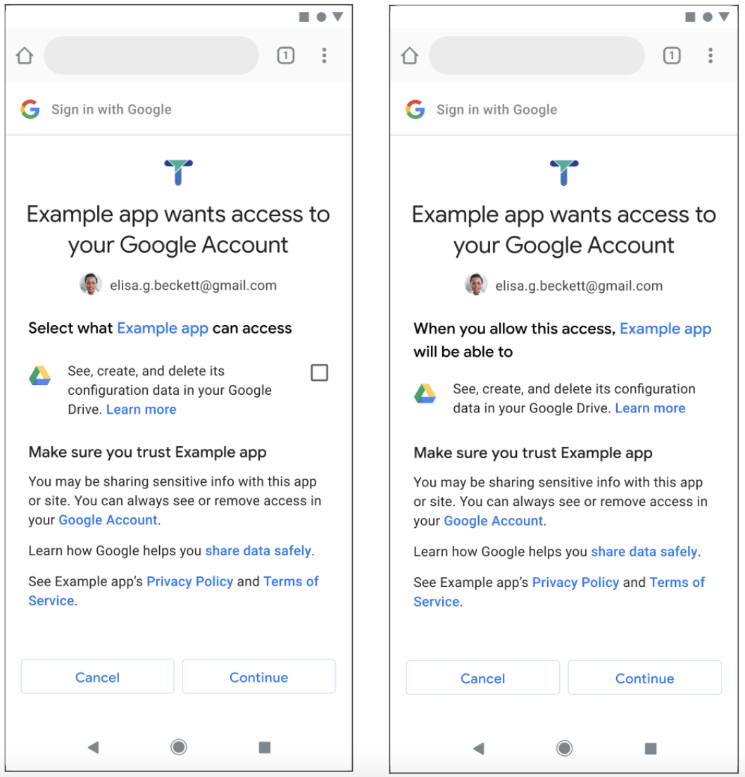 Screenshot compares the previous screen and the new screen you see when Example app wants to access your account