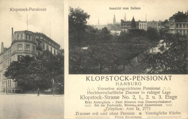 Postcard of the Klopstock Pension - Klopstockstrasse 2 - former Abwehr training site for spies destined for England in 1940/41.