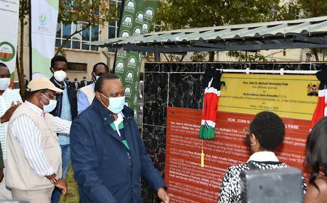 President Uhuru Kenyatta at Mazingira Park alias Michuki Memorial park