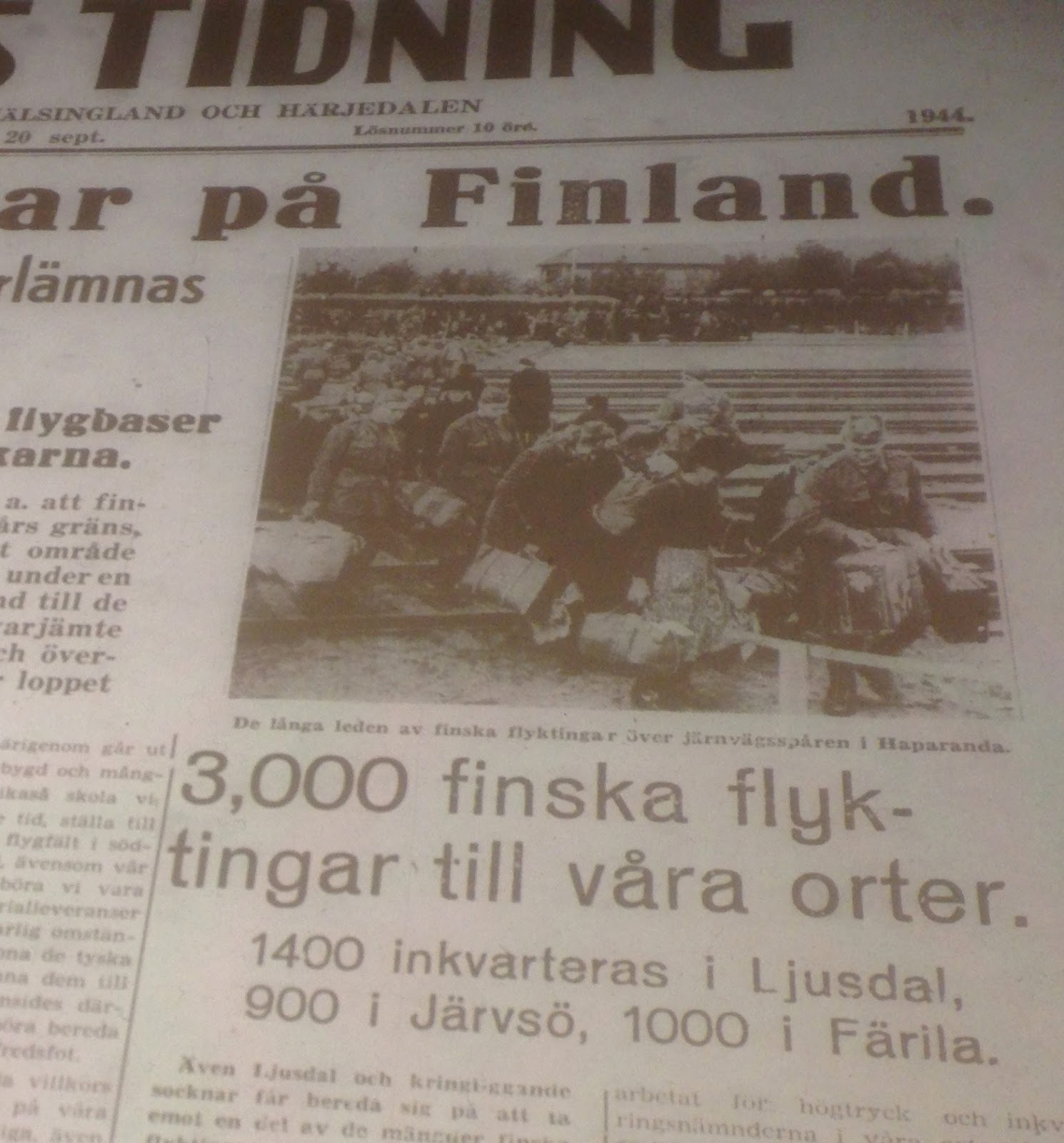 Dokument I Fokus Finska Flyktingar Till Ljusdal