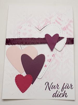 Bannerkarte / Trickkarte mit vielen Herzen Stampin' Up! www.eris-kreativwerkstatt.blogspot.de