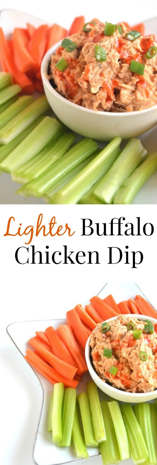 This Lighter Buffalo Chicken Dip is healthier than the original but is still full of flavor and makes the perfect appetizer! Made easy by being cooked in the slow cooker. www.nutritionistreviews.com