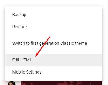 Pilih/klik Edit HTML