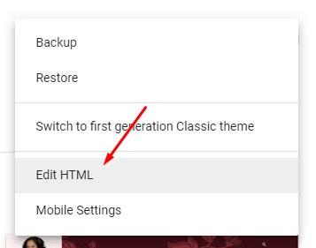 Theme > Edit HTML.