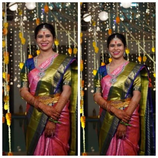 Nikhil Wife Pallavi Varma Pink Saree