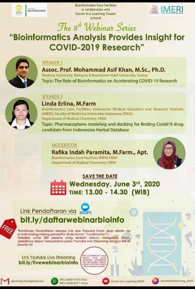 "The 8th Webinar Series IMERI ""Bioinformatics Analysis Provides Insight for COVID-19 Research"" Jun 3, 2020 01:00 PM"